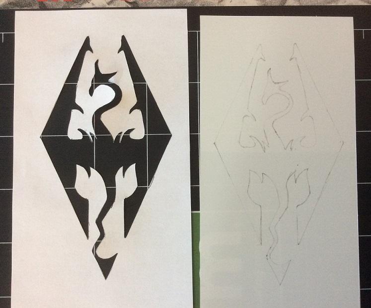 Shrink plastic Akatosh stencil