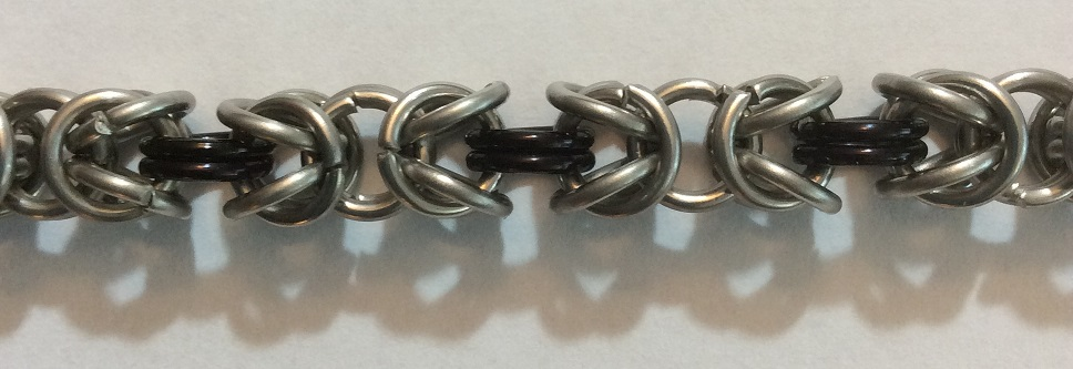 Chain maille Byzantine bracelet close-up
