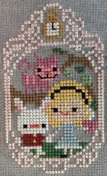 Cross stitch of Alice in Wonderland