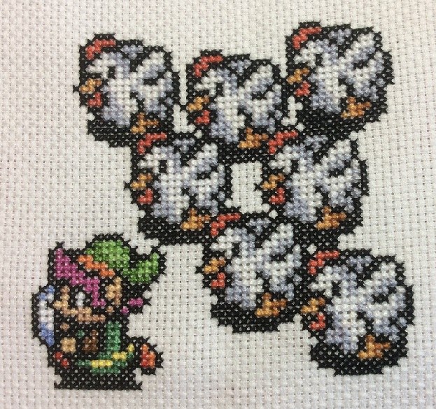 Cross stitched Link with Cuccos