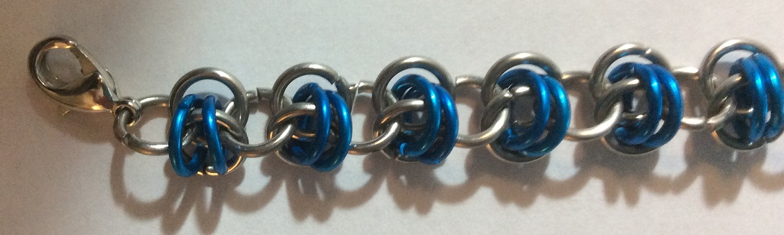 Chain maille bracelet Rhinos Snorting Drano close-up