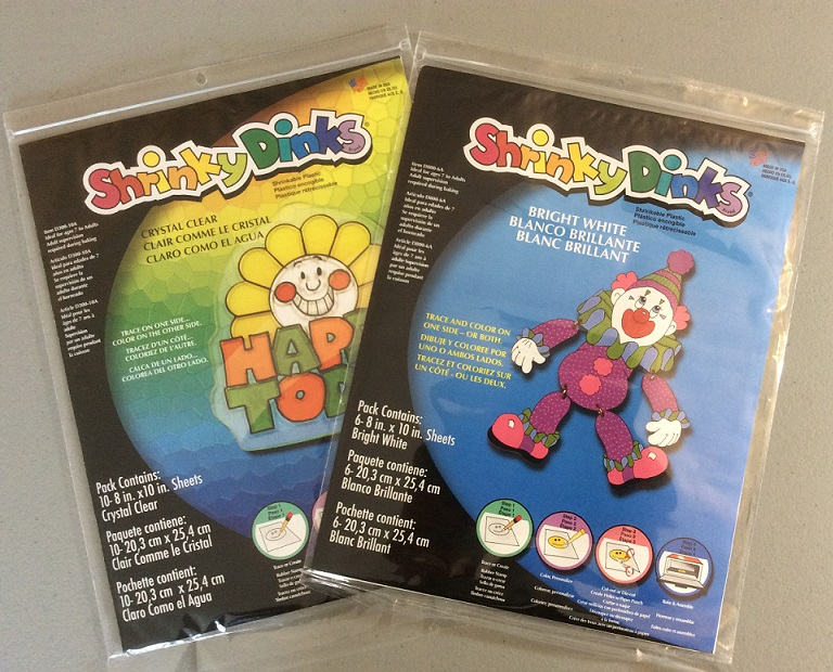 Crystal Clear and Bright White Shrinky Dink packages