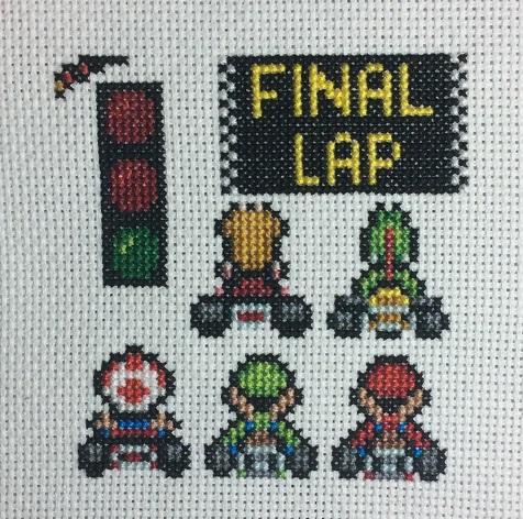 Cross stitch Super Mario Kart sampler