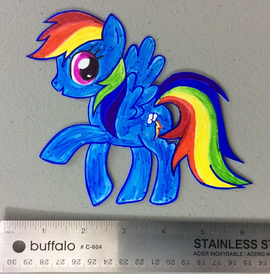 Shrink plastic Rainbow Dash before shrinking