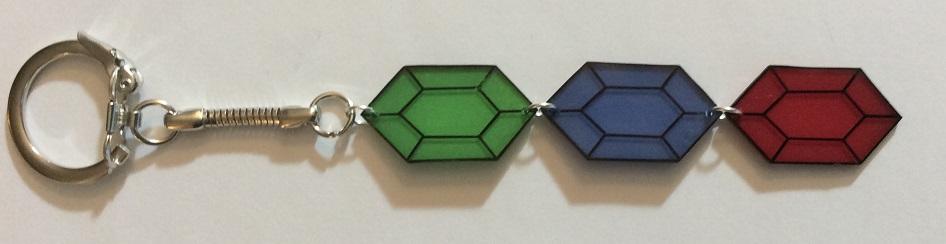 Shrink plastic Legend of Zelda rupee keychain