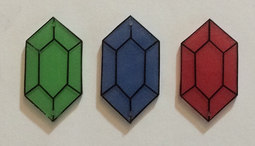 Painted shrink plastic Legend of Zelda rupees