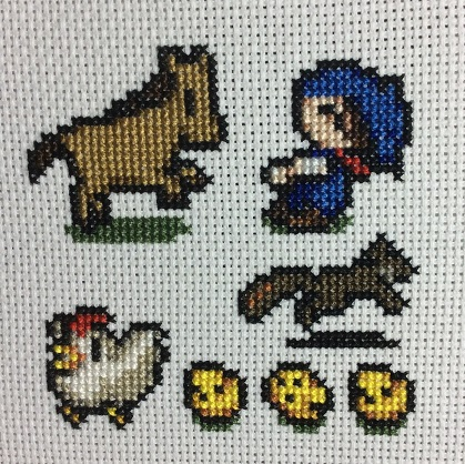 Harvest Moon Cross Stitch Square