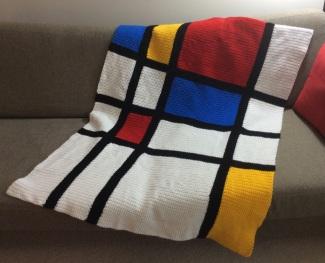 Mondrian inspired crochet baby blanket