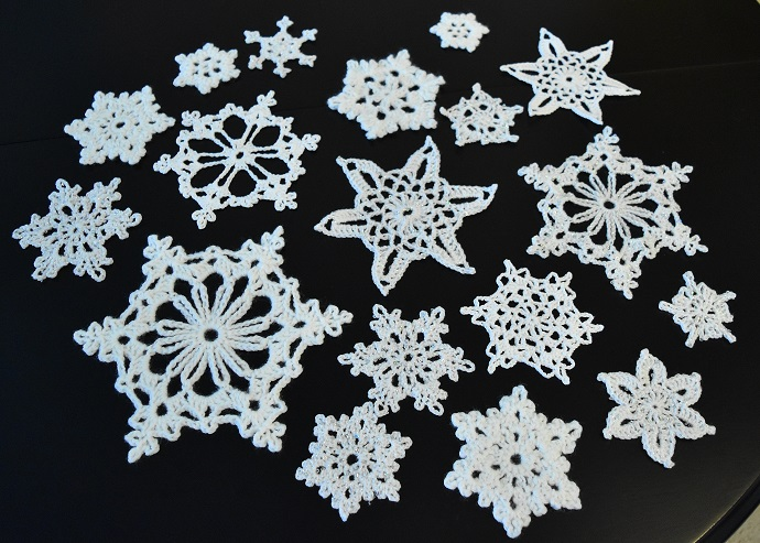 Group of crocheted snowflakes