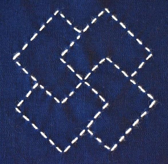 Moyozashi sashiko stitch sample