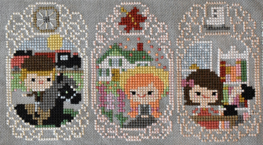 Cross stitch scenes from Black Beauty, Anne of Green Gables, and Little Women