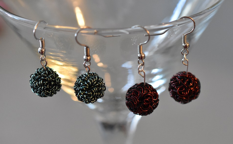Wire bead earrings