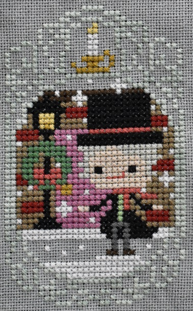 Cross stitch Scrooge from A Christmas Carol