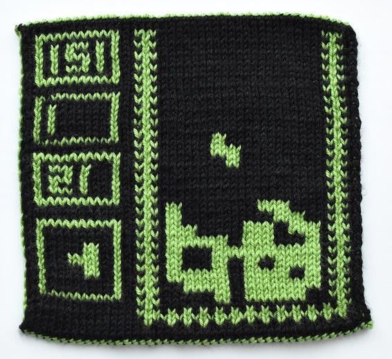 Back of double knit Tetris square