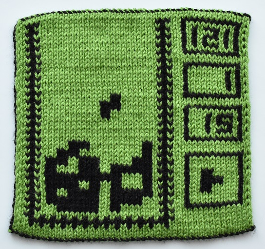 Front of double knit Tetris square
