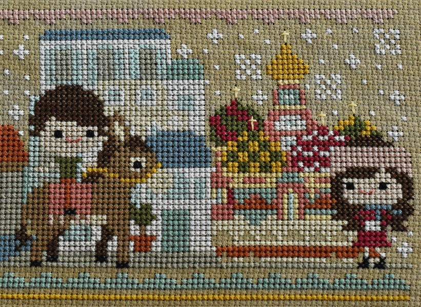 Cross stitch scenes of Greece and Russia